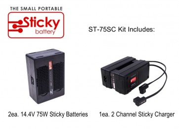 HAWK-WOODS 2ea. 14.4V 75W Sticky Batteries, 1ea. 2 Channel Sticky Charger