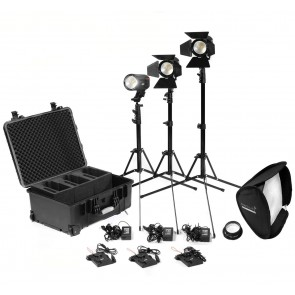2 x Practilite 602 / 1 x Practilite 600 kit with stands, V-lock battery plates and Soft-box