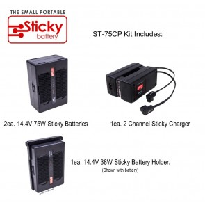 HAWK-WOODS 2ea. 14.4V 75W Sticky Batteries, 1ea. 2 Channel Sticky Charger, 1ea Sticky QR Plate